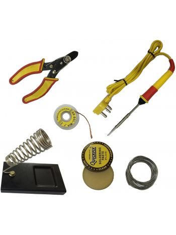 25w Soldering Iron with Cutter, Flux, Stand, Wire etc (6 in 1)
